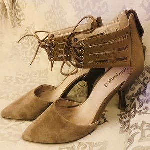 Jeffrey Campbell Lace Up Pumps Cute Taupe Heels